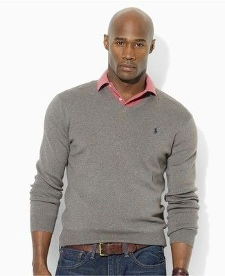 Men s Grey V-neck Sweater, Pink Polo, Navy Skinny Jeans, Black Leather Belt fe598c733623