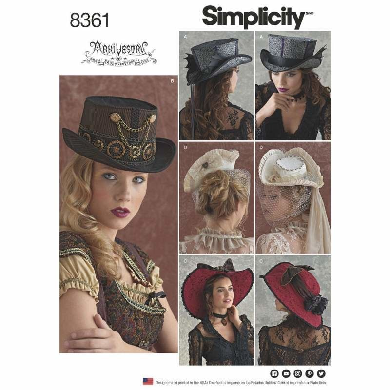 Schnittmuster Simplicity 8361 Hüte 53,5 - 58,5cm bei Schnittmuster ...