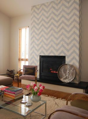 This Herringbone Tile Fireplace Looks So Cool And Modern