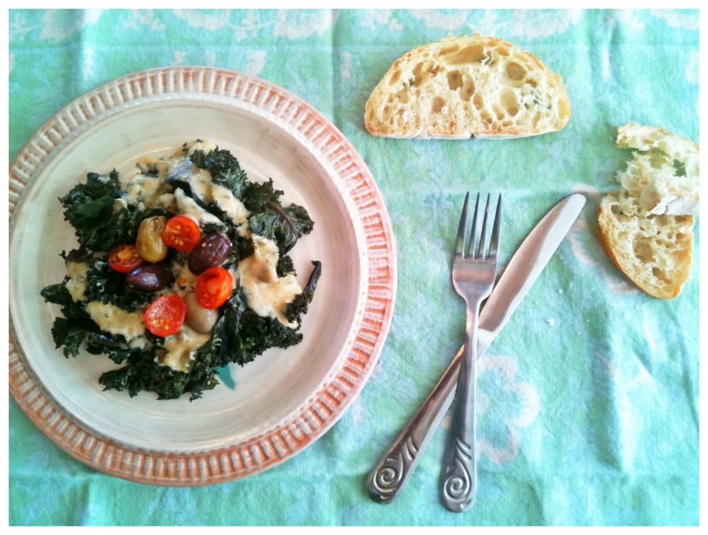 Wilted Kale with Hummus Dressing
