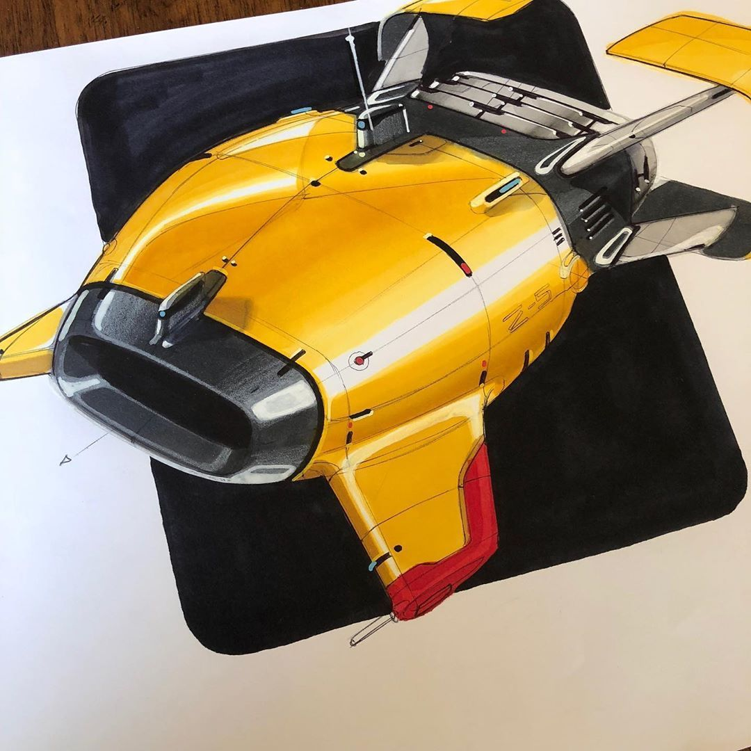 "Matthias Schenker on Instagram: ""yellow submarine ⚓️#submarine #deepwater #oceanexplorer #design #sketch #designsketch #cardesign #cardesigncommunity #markerdrawing…"""
