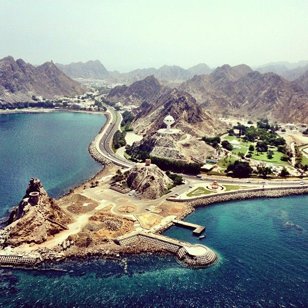 Aerial View Over The Pearl Of The Middleeast Muscat Oman Oman Aerial View Famous Landmarks