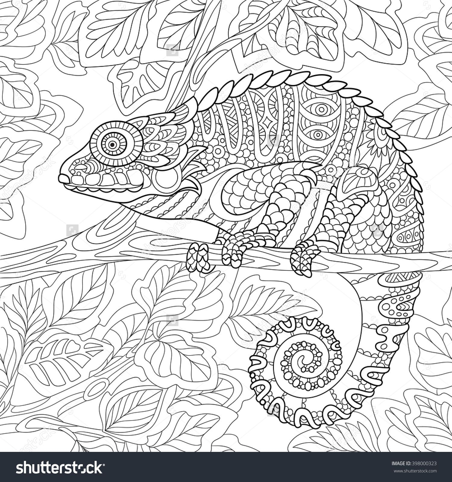 Zentangle Chameleon Sitting On A Tree Branch. Coloring Page I ...