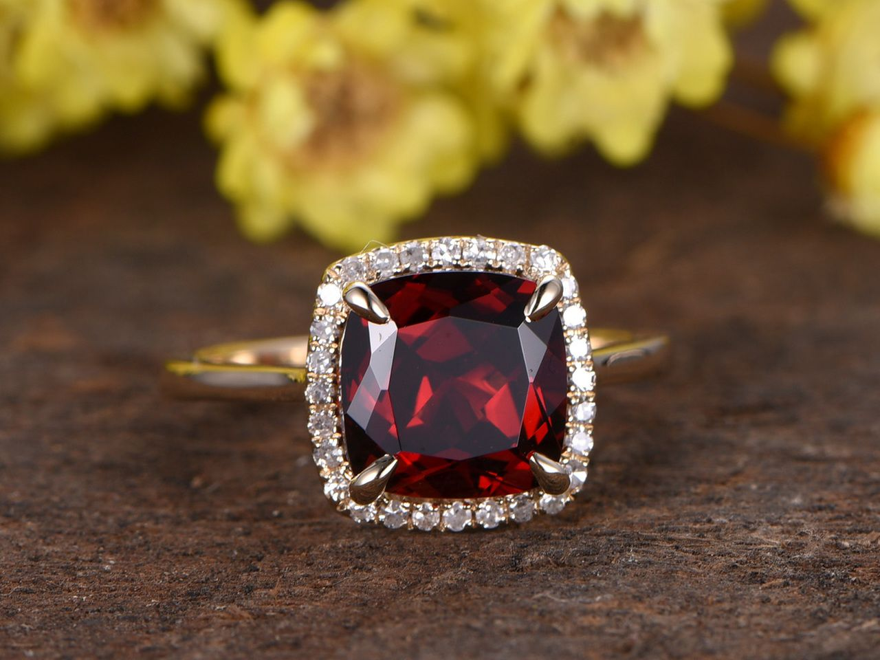 Garnet with White CZ Gemstone 925 Sterling Silver Split Shank Halo Style Marquise Cut Ring