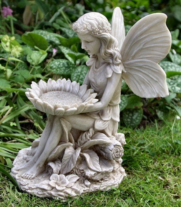 Garden fairy statues sitting fairy with sunflower for Fairy garden figurines