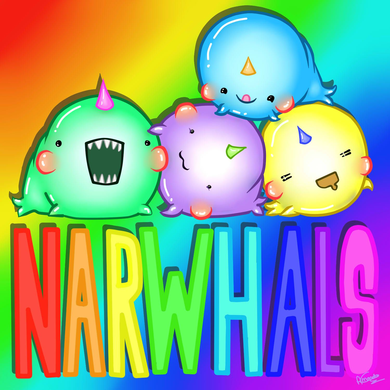 rainbow narwhals | rainbow narwhals by AmanDaMoustache