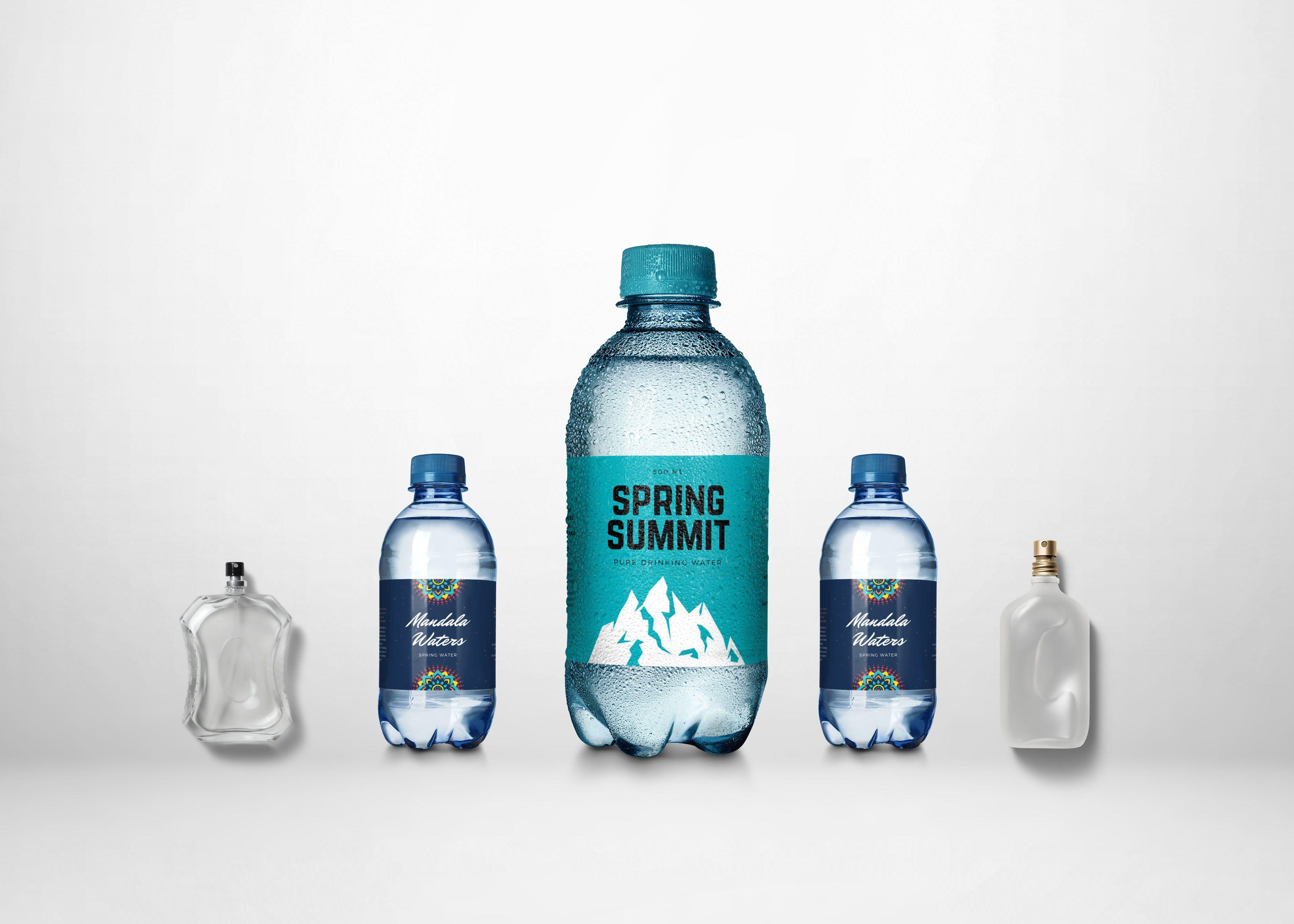 Mini Water Bottle Label Design Mockup Water Bottle Label Design Bottle Label Design Mini Water Bottles