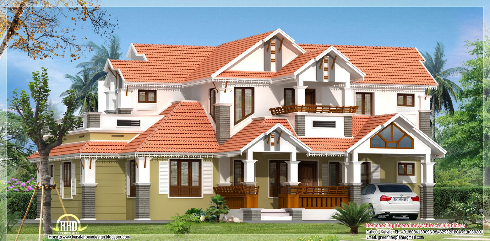 White House Red Tile Roof Google Search Kerala House Design Small House Design House Design