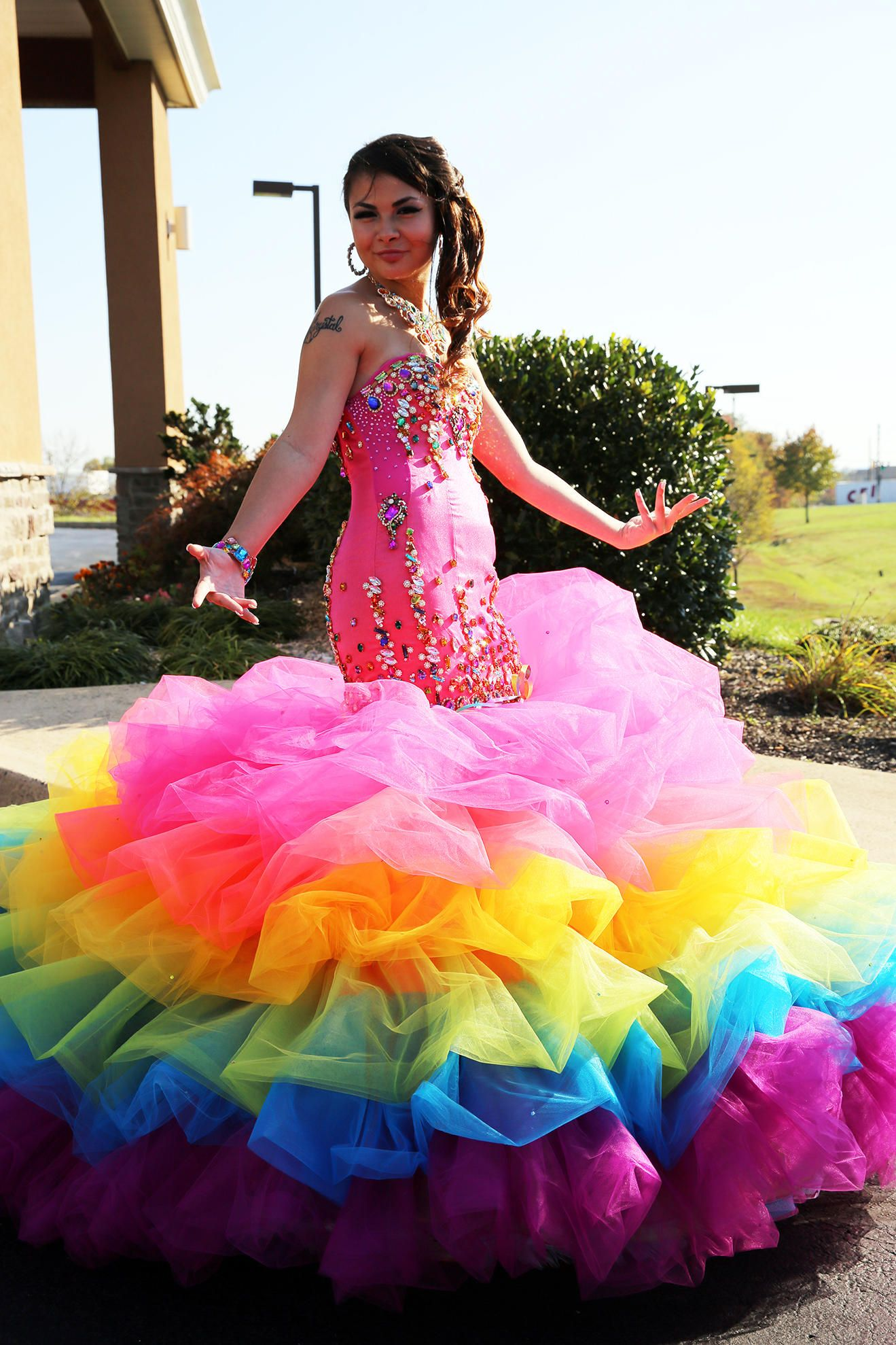 Greek Wedding and Rainbow Sweet 16 Dress Pictures | Vestido de ...