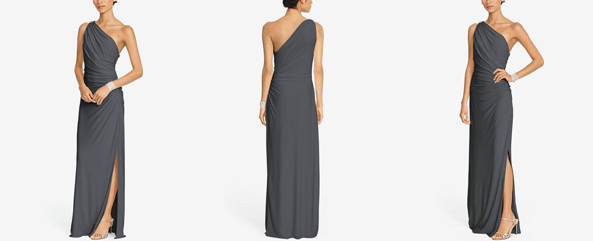 Lauren Ralph Lauren One-Shoulder Brooch Gown | Brooches, Gowns and ...