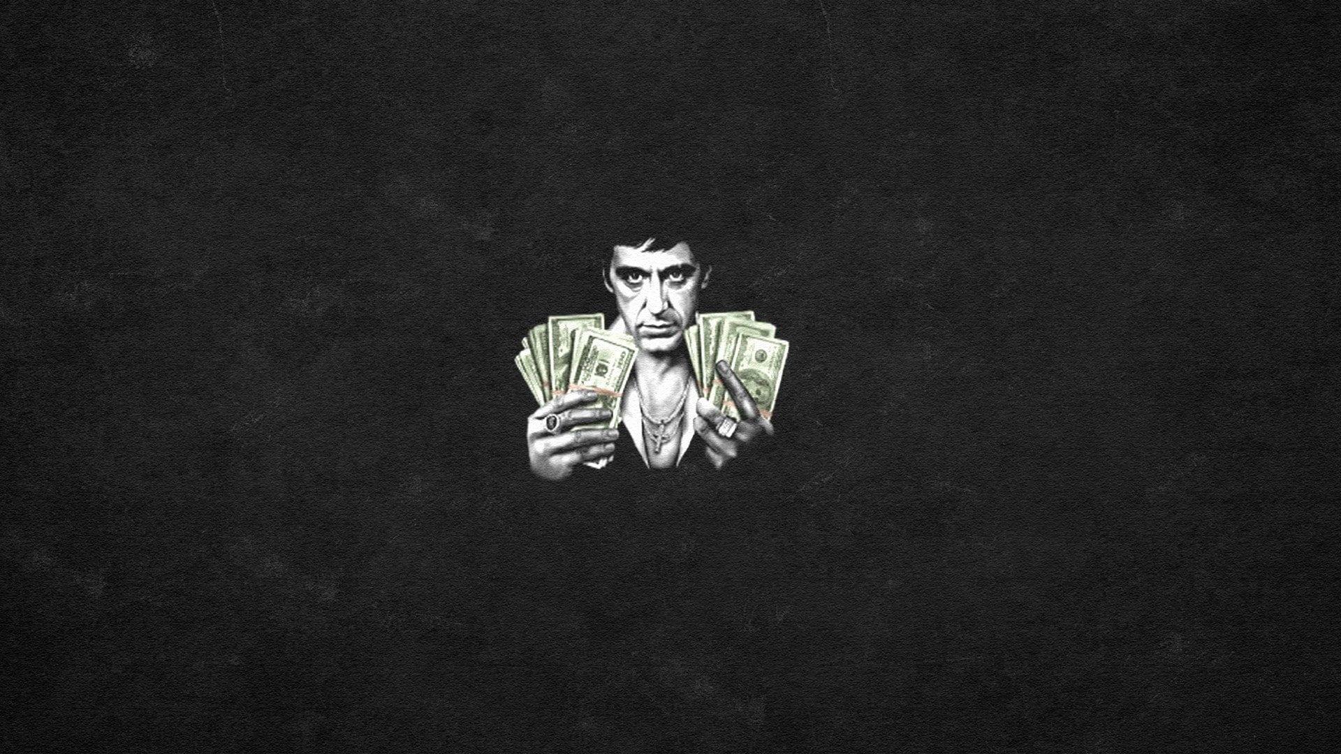 Scarface Tony Montana Al Pacino Black Background 1080p Wallpaper Hdwallpaper Desktop Unicorn Wallpaper Cute Al Pacino Scarface
