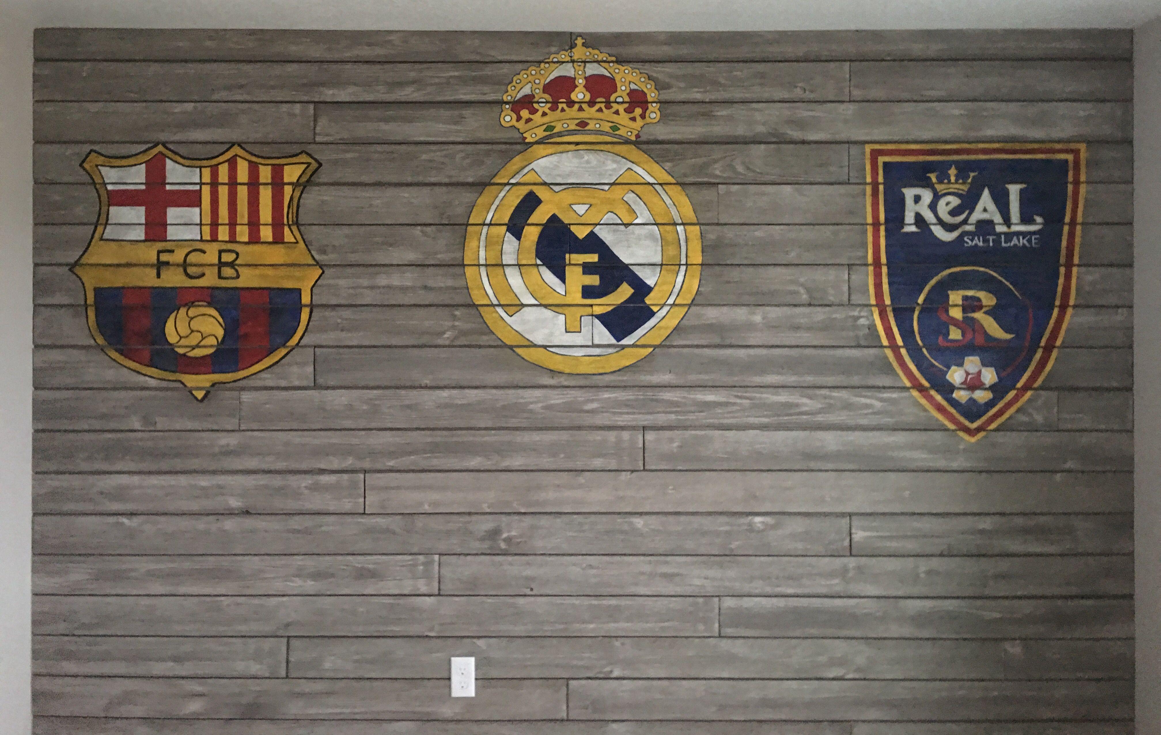 3 soccer logos for a boy's bedroom wall.