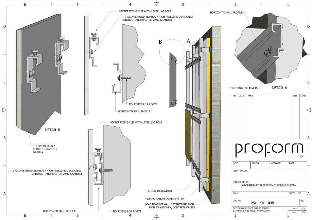 Psl Sk 008 Proprietary Cladding Rail System Details In