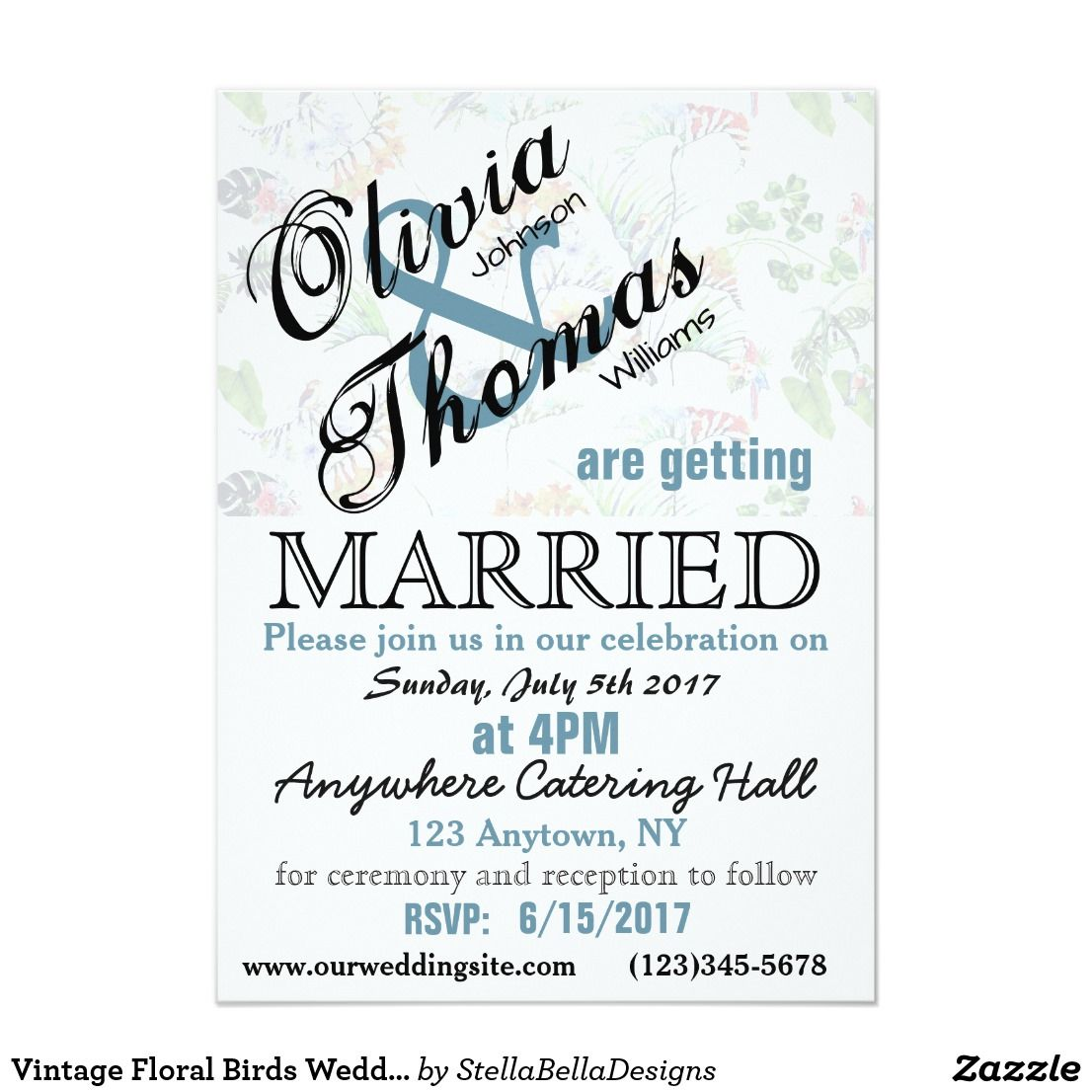 Vintage Floral Birds Wedding Invitation Custom #wedding ...