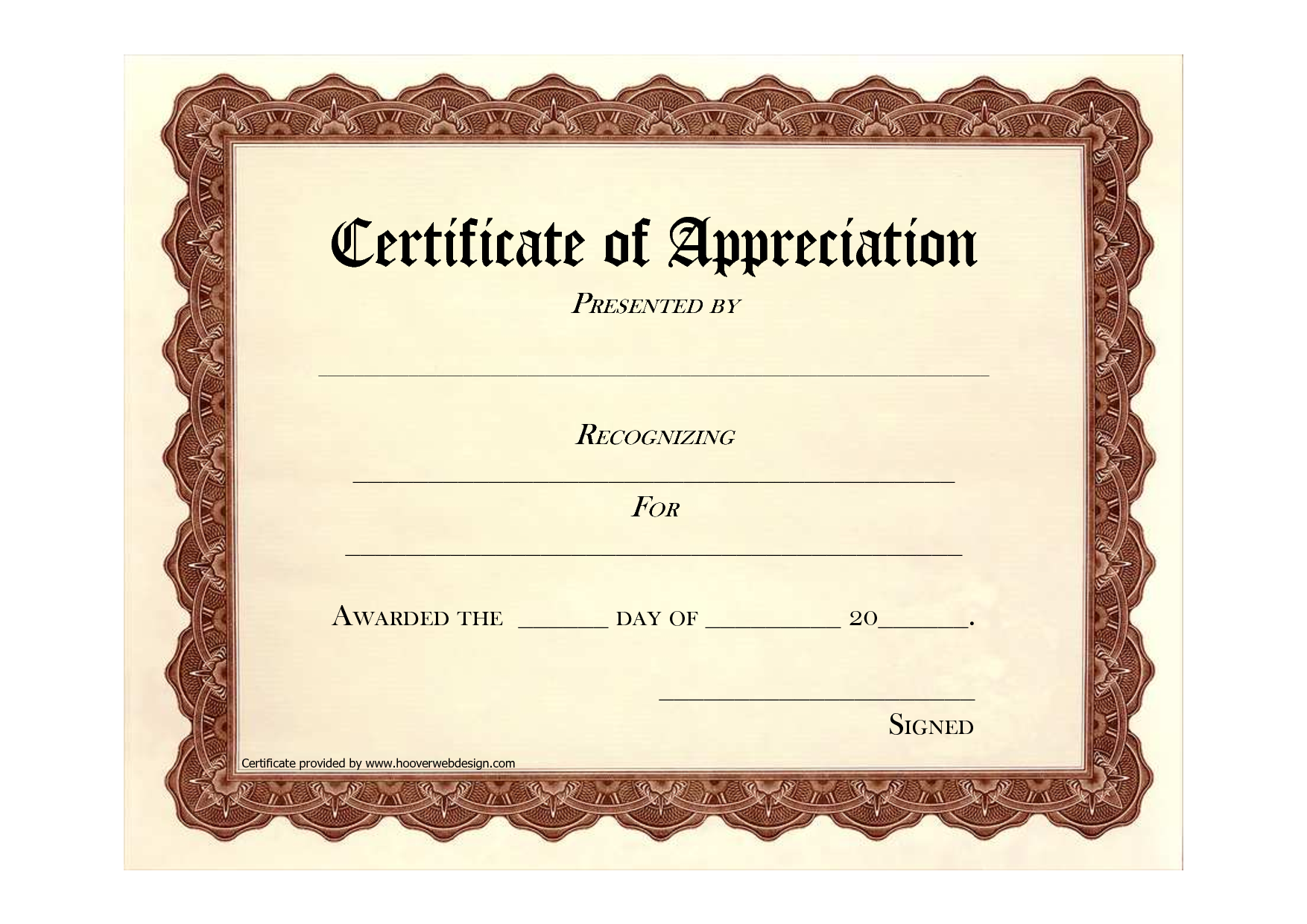 Free certificate of appreciation award certificate of appreciation formal certificate of completion template example with editable recipient and date also brown background and frame pattern thogati yadclub Images