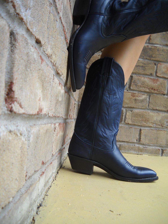 a4c342cc63d RESERVED Vintage NOCONA Women's Cowboy Boots Navy Blue Size 6.5 ...