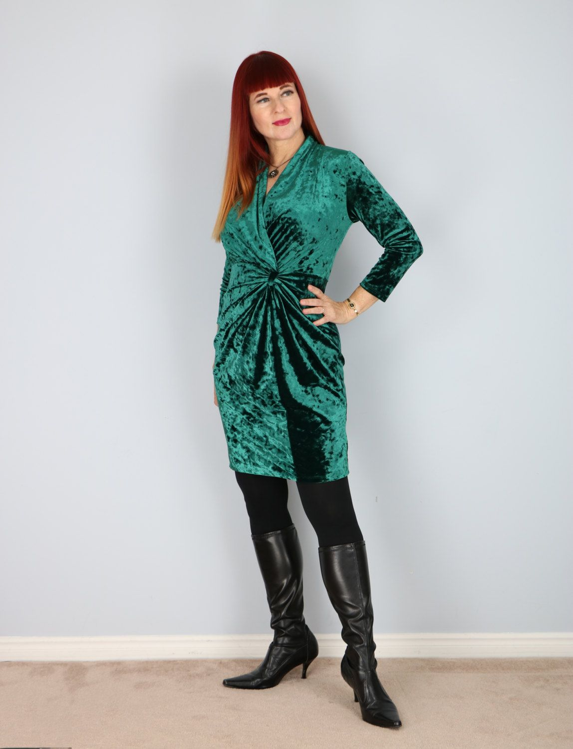 1980\'s Emerald Crushed Velvet Cinched Waist Party Dress | Crushed ...