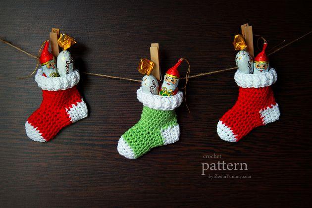 crochet pattern - crochet Christmas stocking ornaments | Crochet ...