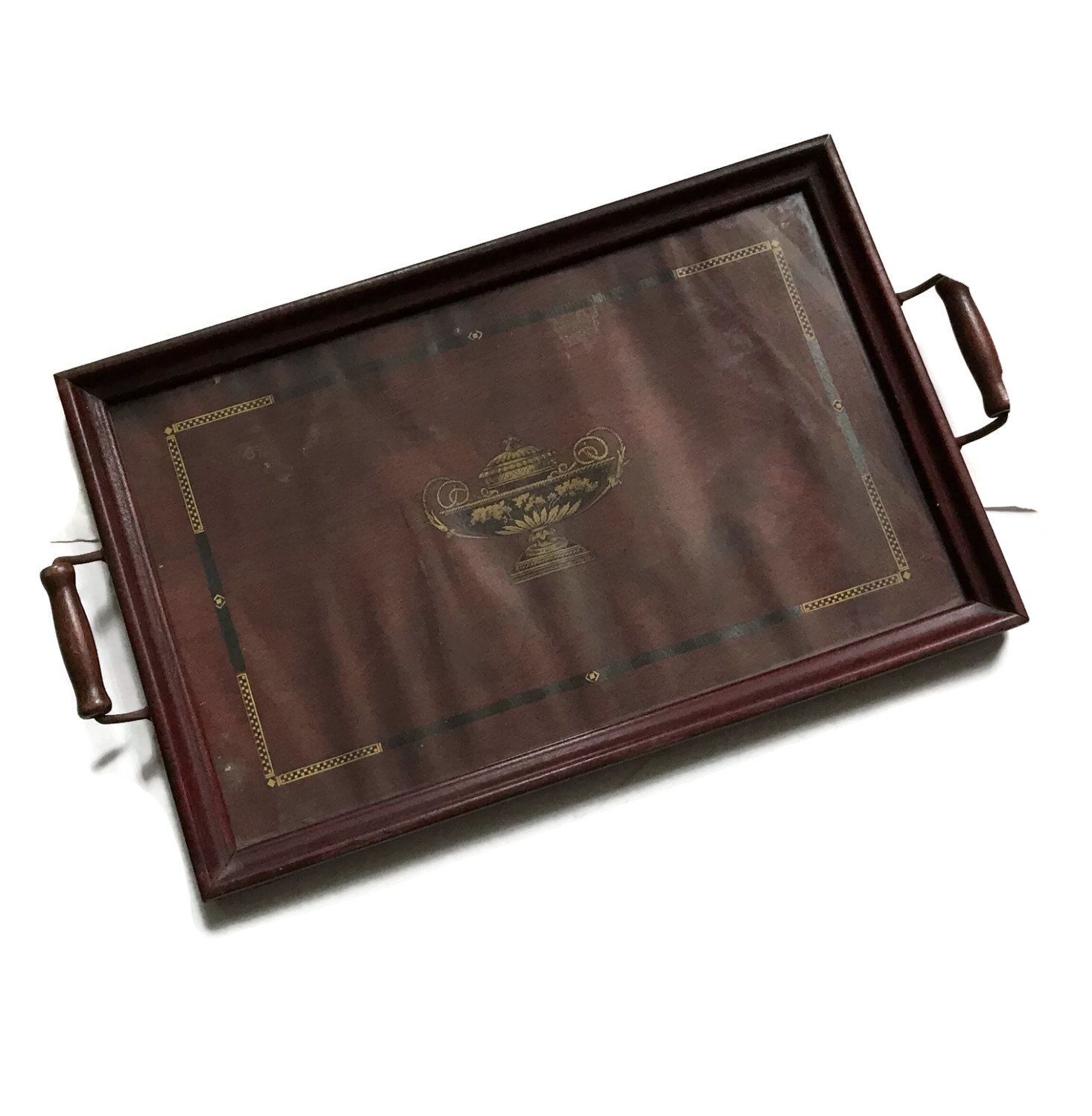 Vintage Serving Tray 1940 S Wood Tray With A Glass Top And Wood