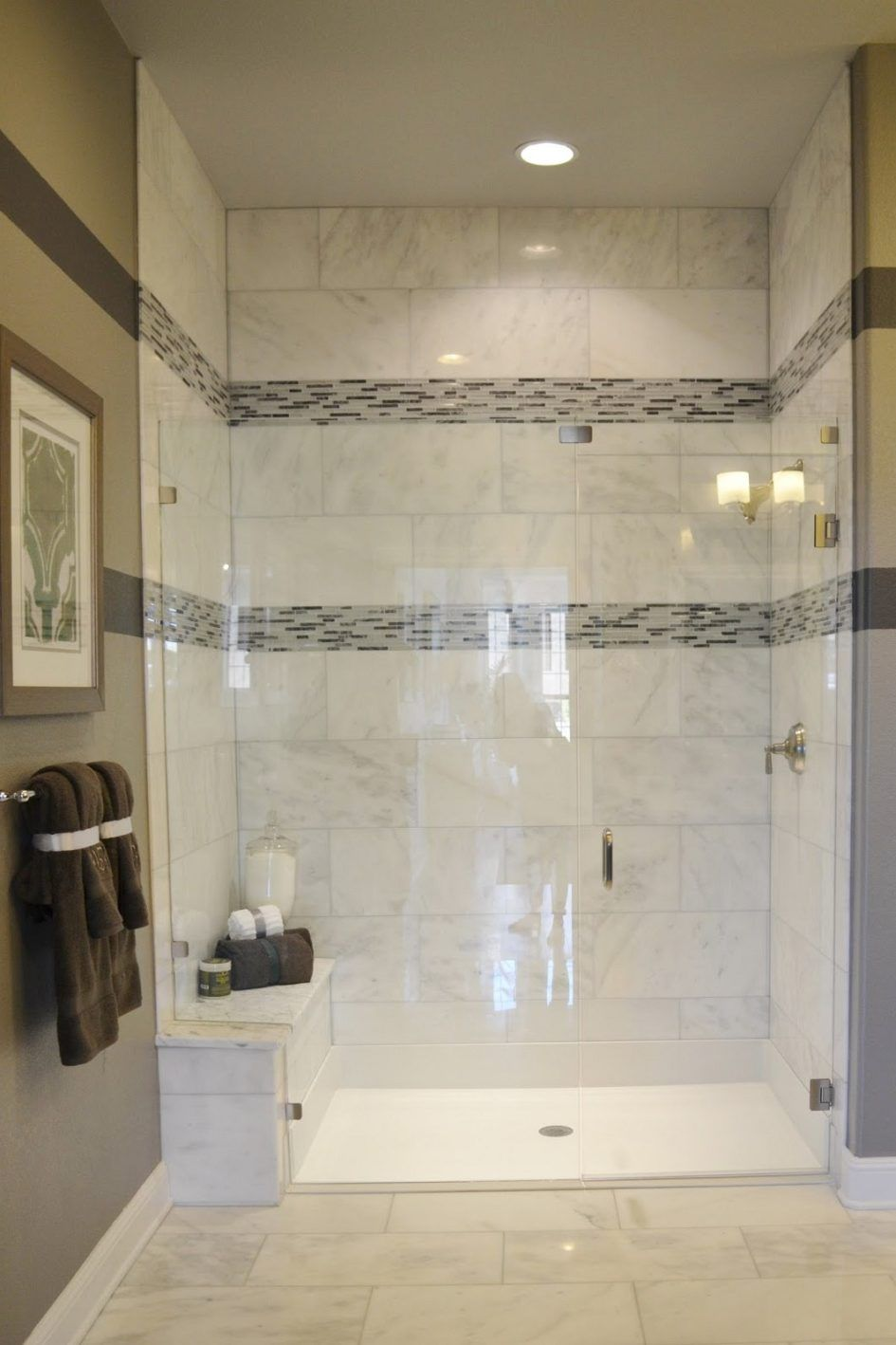Bathroom : Natural Stone Wall And Floor Tiled Bathroom Tub Shower ...