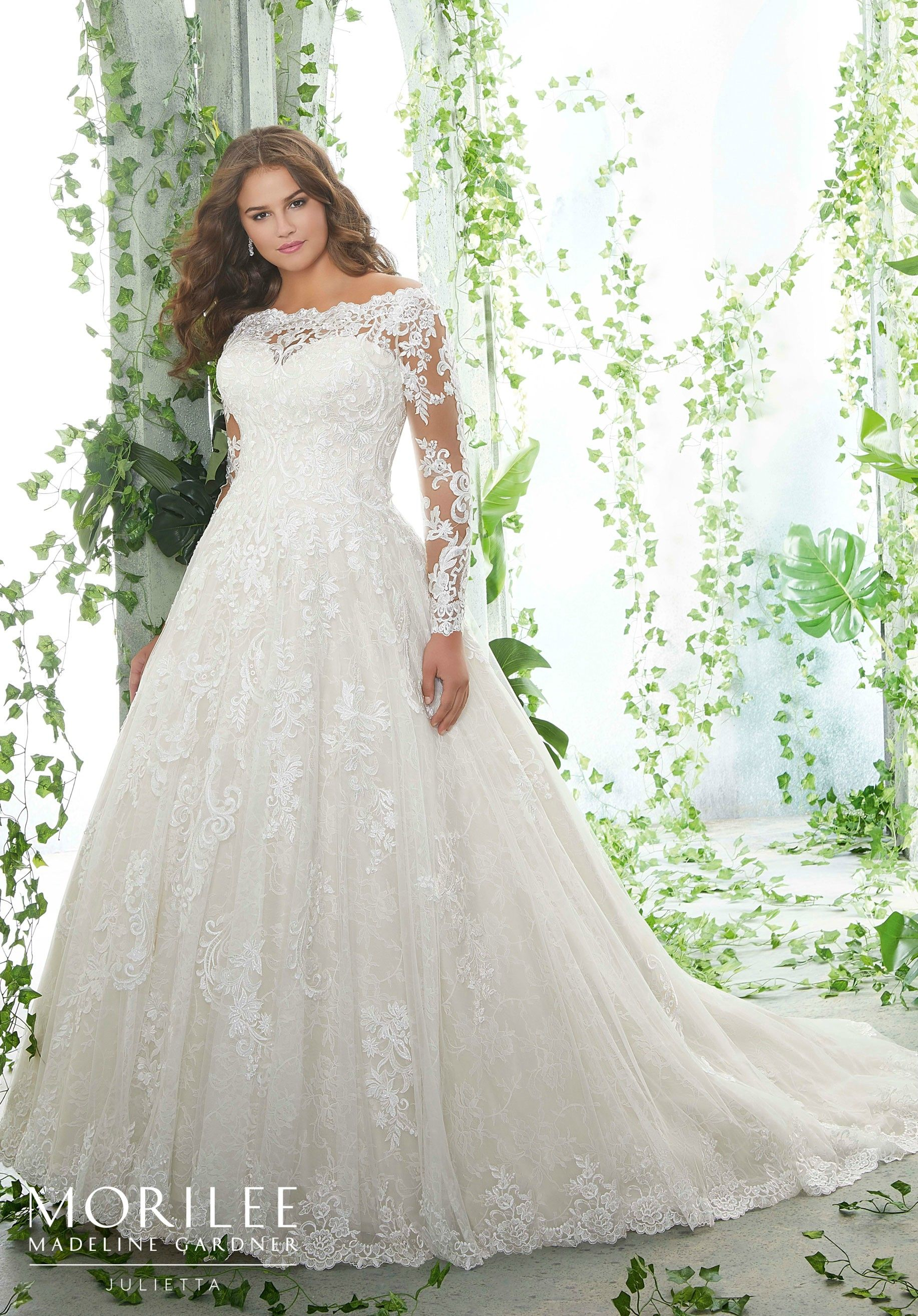 84779f8d782 Morilee | Madeline Gardner, Patience Style 3258 | Frosted, Embroidered Lace  Appliqués on a Soft Tulle Ball Gown Over Chantilly Lace with Scalloped  Hemline ...
