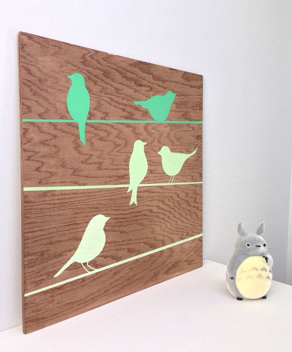 Hand Painted Birds On A Wire On Wood Bird Wall Art Mint Green