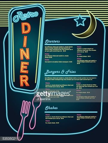 Late Night Retro 50s Diner Neon Menu Layout Neon Utensils