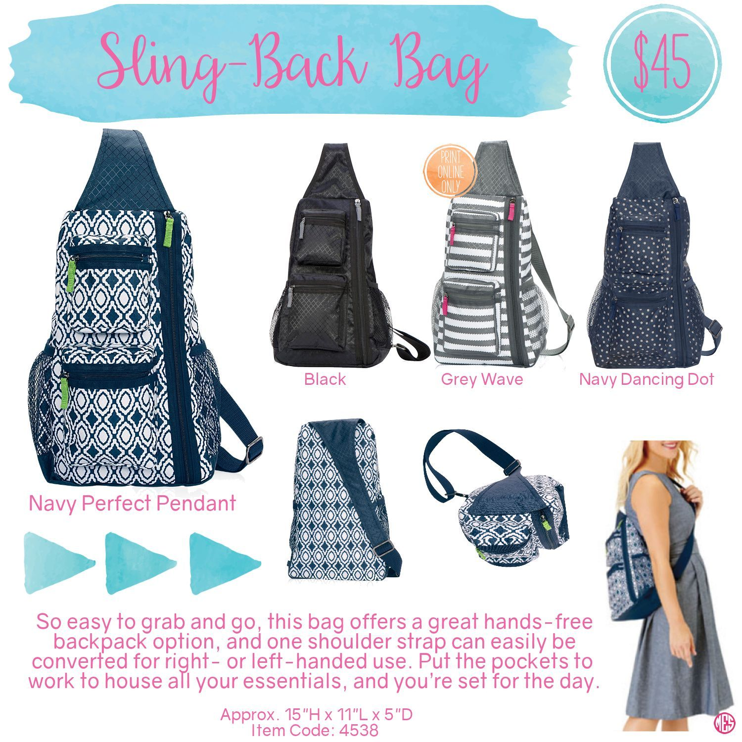 Sling-Back Bag in Navy Perfect Pendant for $48 - So easy to grab ...