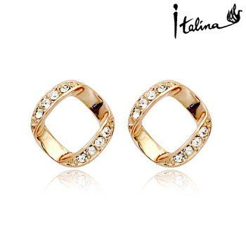 Poppular crystal earring Italina Rigant New Arrival Simple Style