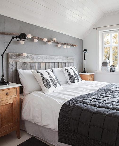 Grey Wood Headbed Lights Home Bedroom Cozy House Bedroom Decor