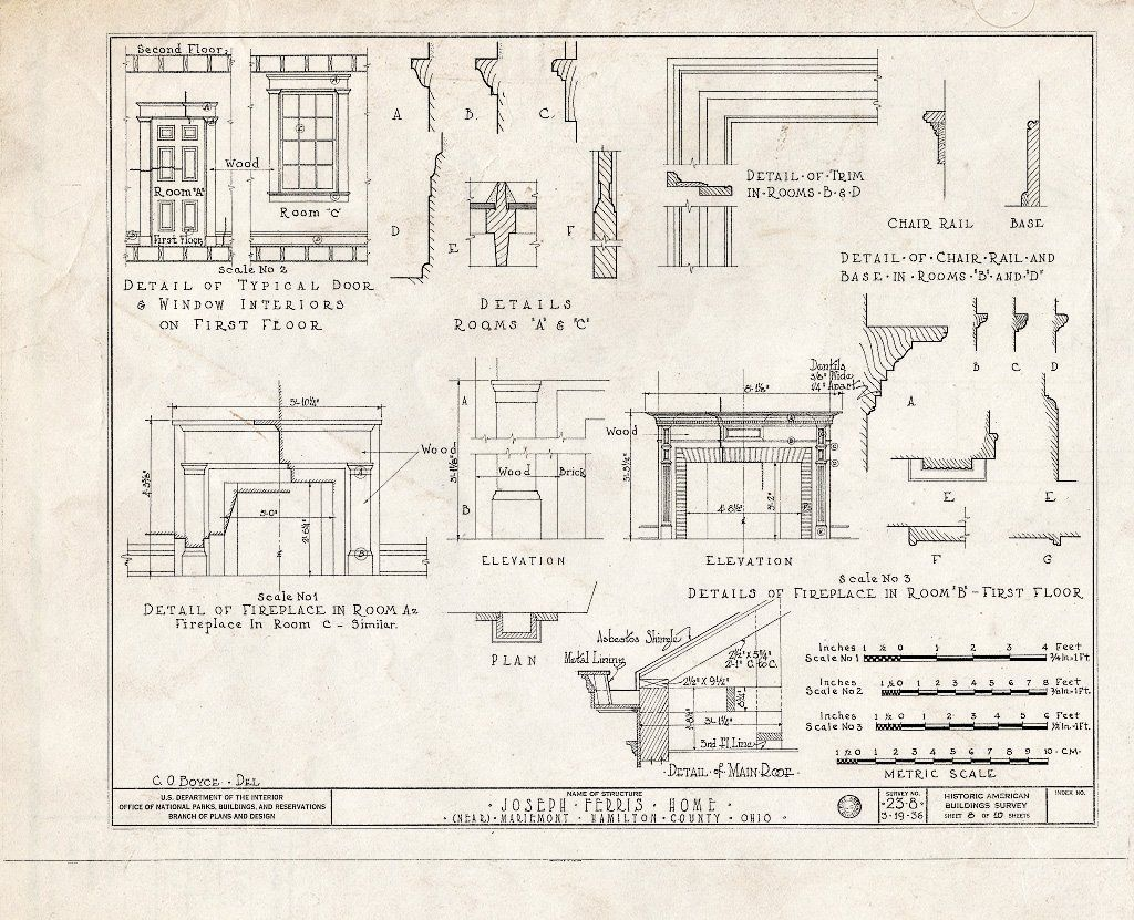 Blueprint HABS Ohio 31 MARMO V 1 Sheet 8 of 10 Joseph Ferris House 5801 Wooster Pike Mariemont Hamilton County OH