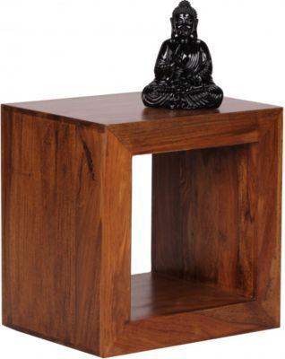 Wohnling Wohnling Standregal Massivholz Sheesham 44cm Hoch Cube Regal Design Holzregal Naturprodukt Beistelltisch Landhausstil Jet Regal Design Regal Holzregal