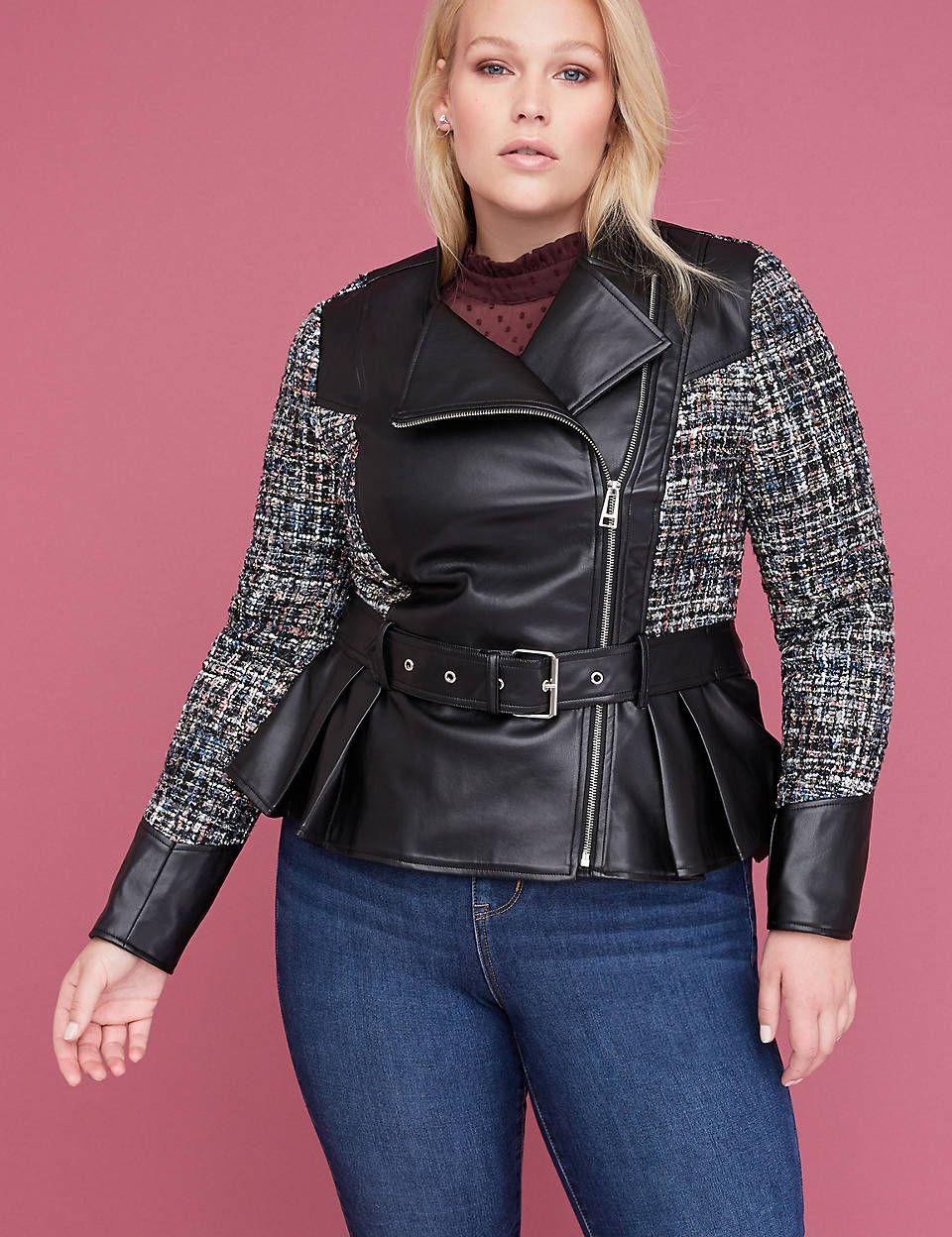 Tweed Faux Leather Peplum Jacket Peplum Jacket Leather Peplum Plus Size Winter Jackets [ 1248 x 960 Pixel ]