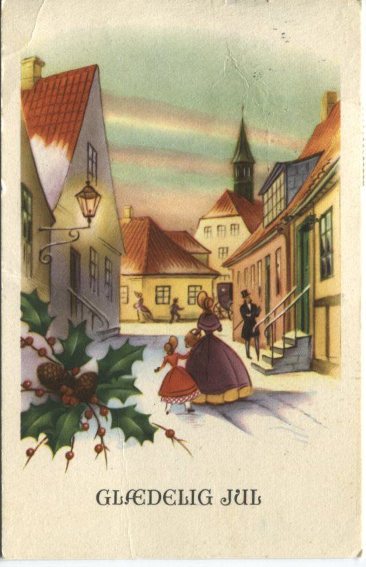 unknown danish postcard glaedelig jul merry christmas holly and snow scene 3031 - Merry Christmas In Danish