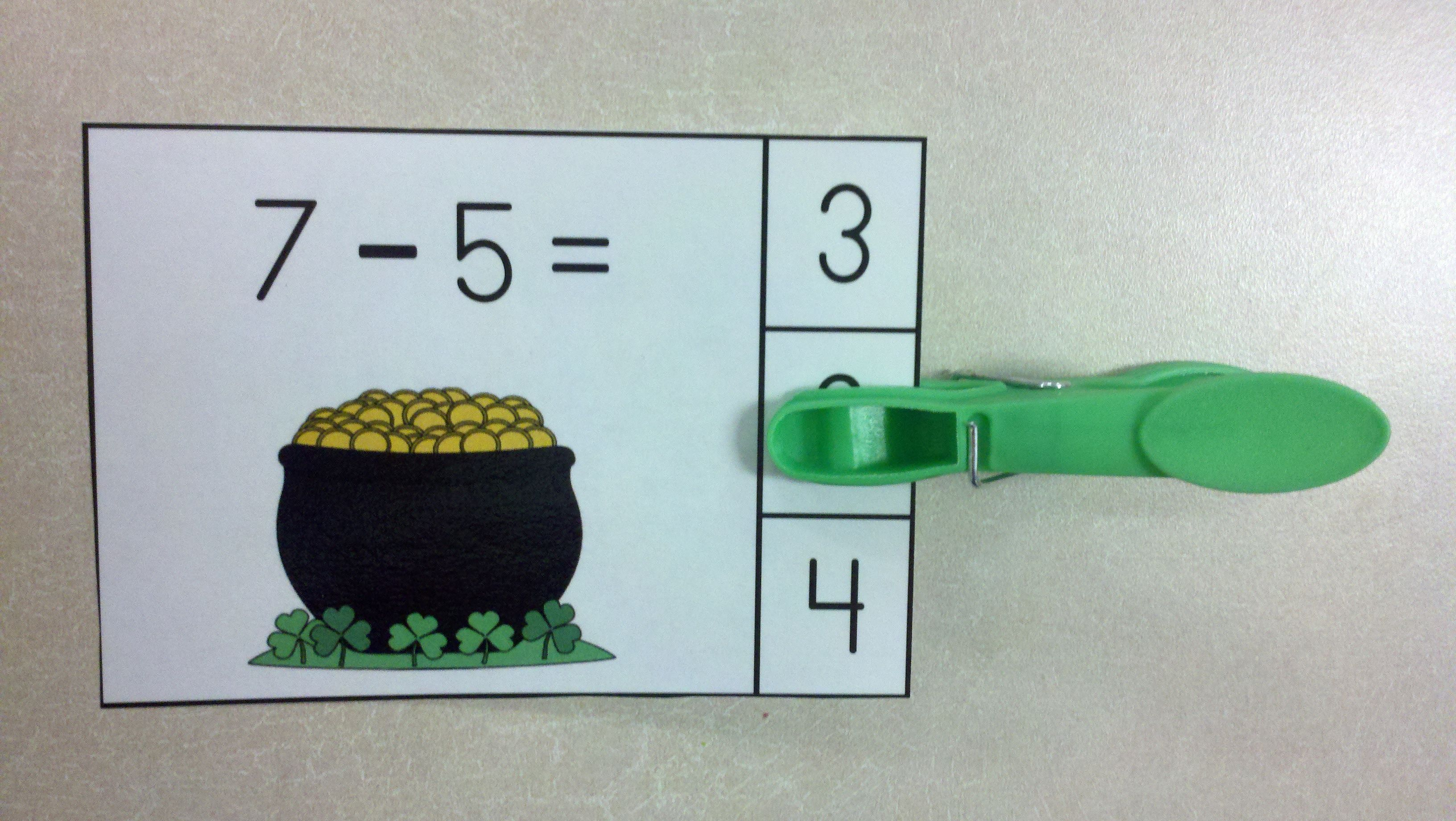 St Paddy S Day Subtraction Math Centers Minuends To 10