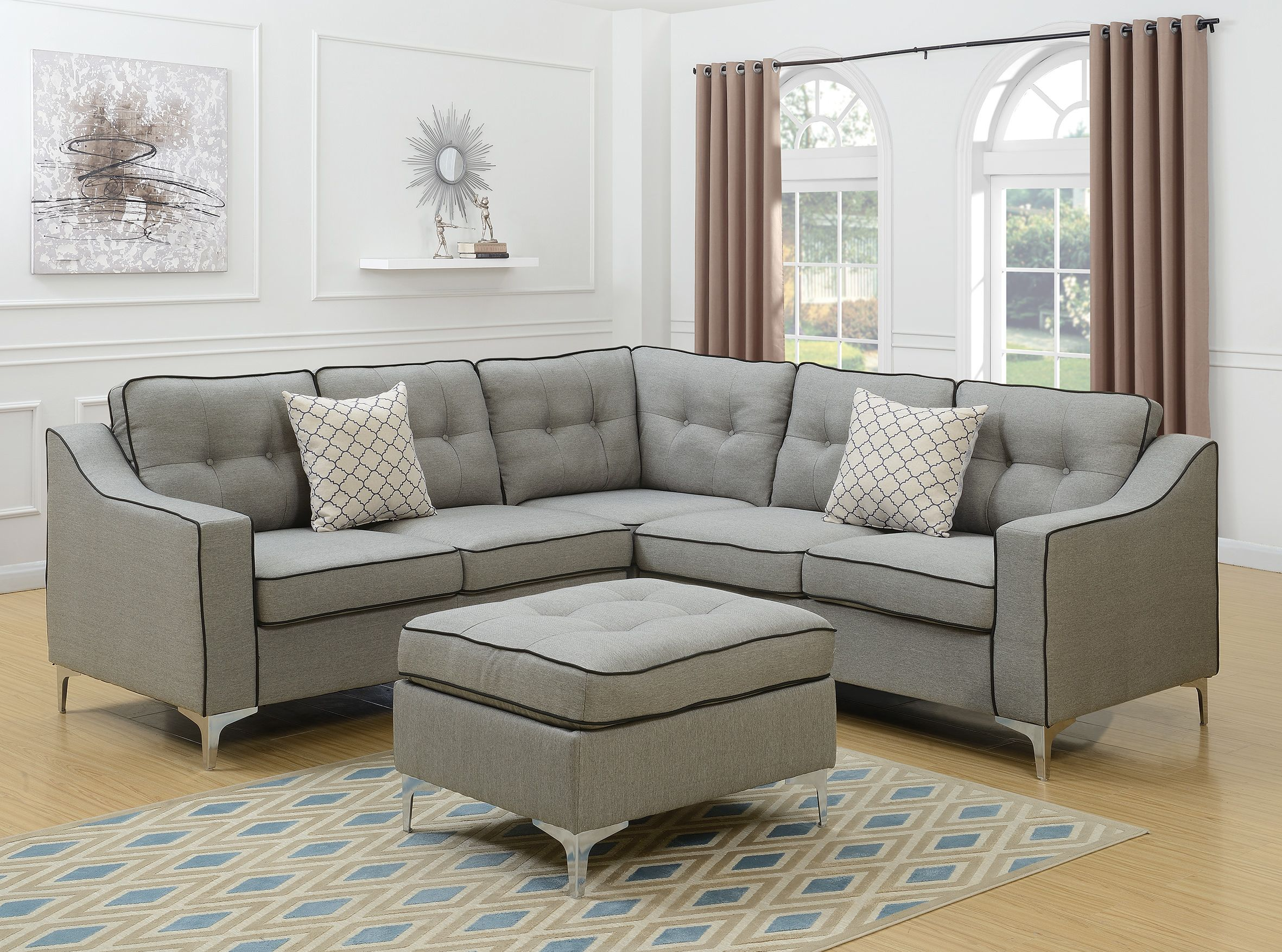 F6998 4 Pcs Sectional A B C D Light Grey Modular Sectional Sofa Grey Sectional Sofa Living Room Sets