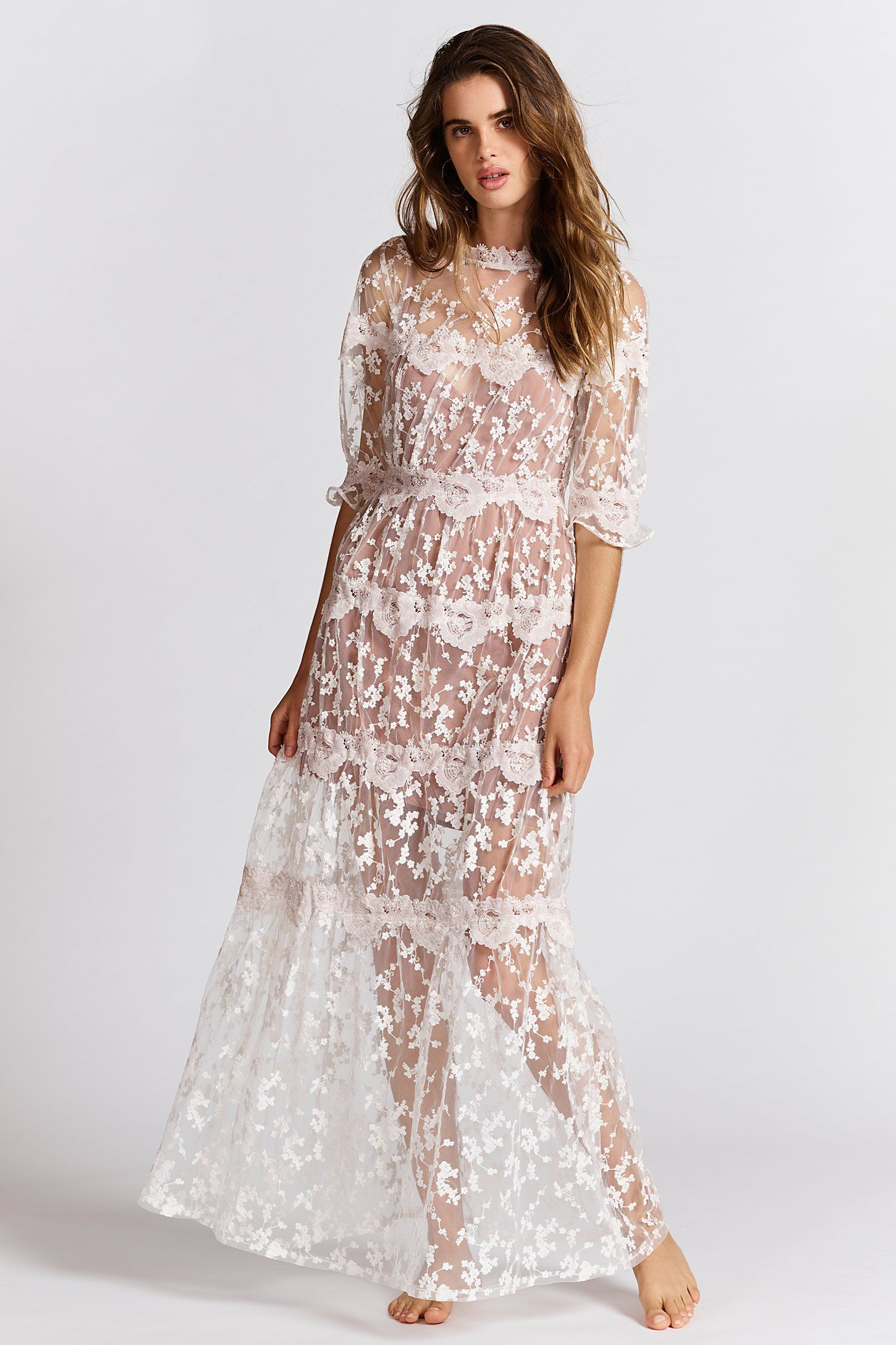 Rosebud Embroidered Mesh Maxi Dress | Pinterest
