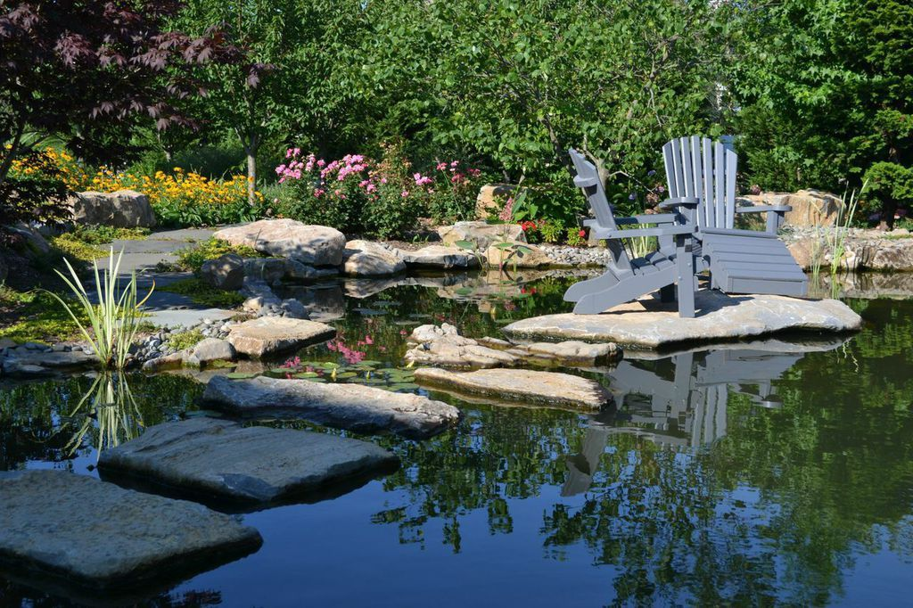 Outdoor Benches Getting Up Close and Personal Pond