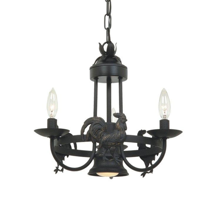 Colonial 3 Light Colonial Rooster Chandelier Kitchen Candle – Rooster Chandelier