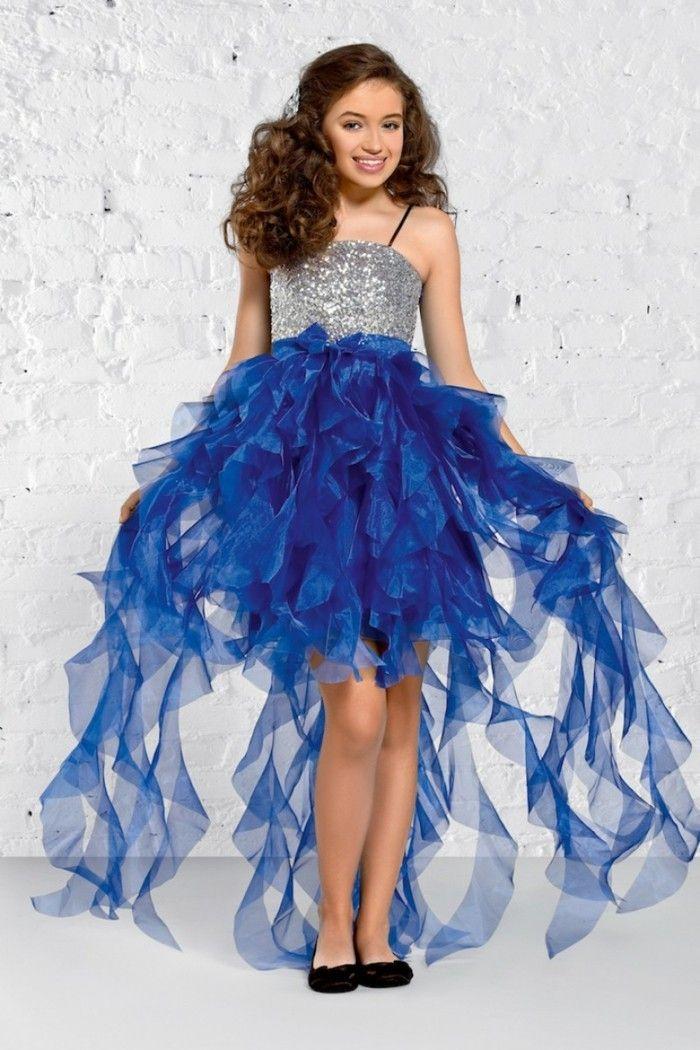 14b1d87704d35 robe de fete fille Ceremonieexpress tulle degrade en bleu et haut aux  sequins gris