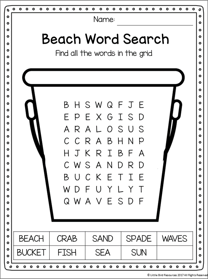 Free Word Search Worksheets For Kindergarten