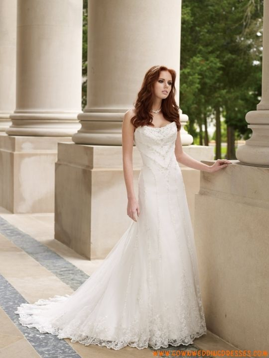 Strapless A-line Applique Ivory Organza Outdoor Wedding Dresses 2013