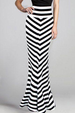 Stylish High-Waisted Striped Mermaid Women's Skirt