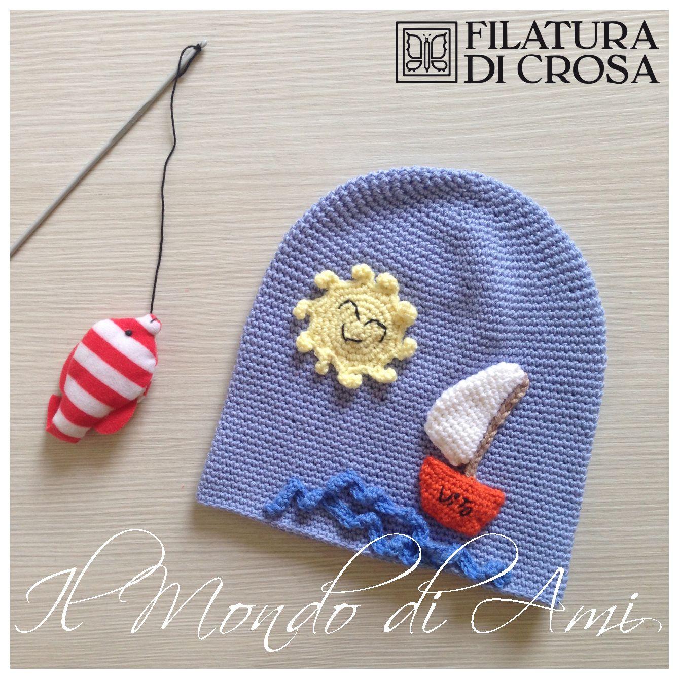 """Berretto barchetta """"Vito"""" #handmade #crochet realizzato con filato """"Principessa"""" Filatura di Crosa Italia"""