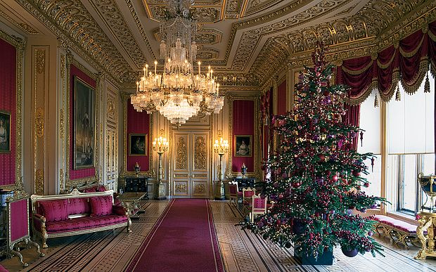 Regally Decorated Inside Windsor Castle At Christmas