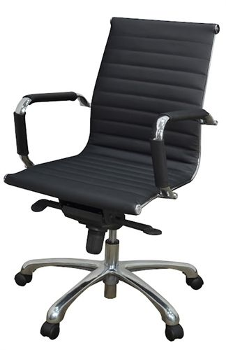 Regency Office Chair Eames Style Chrome Black Leather Solace Swivel Office Chair Leather Office Chair Modern Leather Chair