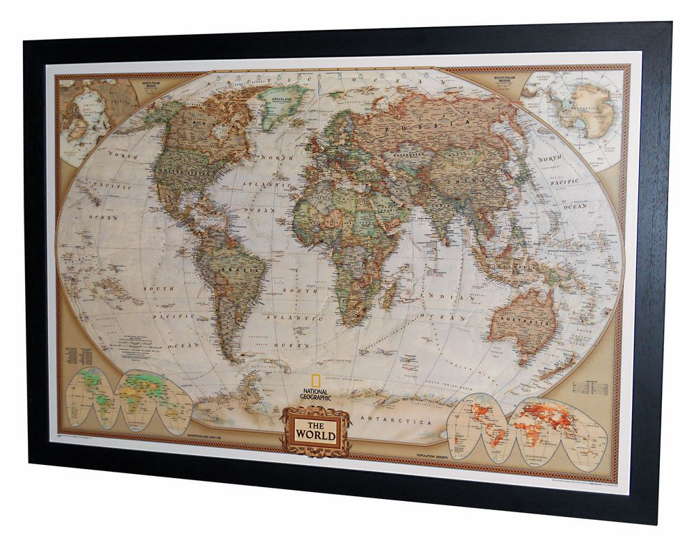 Framed world map national geographic executive 40 x 28 black framed world map national geographic executive 40 x 28 black frame gumiabroncs Choice Image