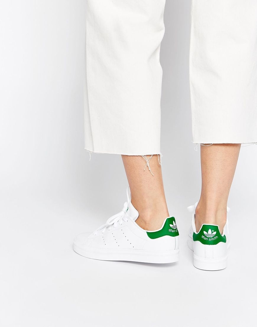 Womens Adidas White & Green Stan Smith Trainers