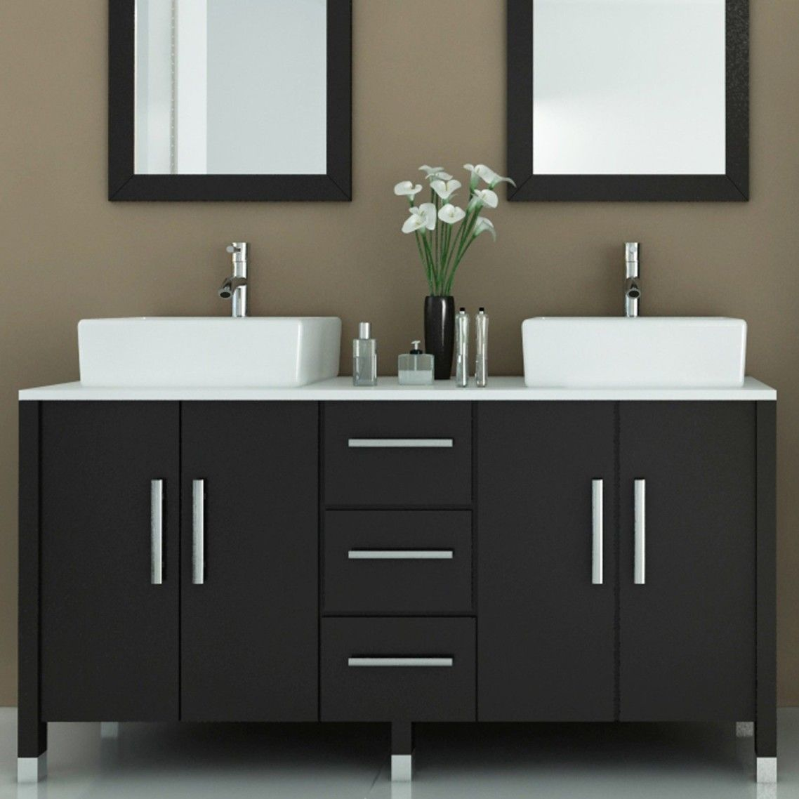Black Painted Wooden Double Vanity Mixed White Porcelain Vessel Sink And Twin Bathroom Furniture Modern Double Vanity Bathroom White Vanity Bathroom