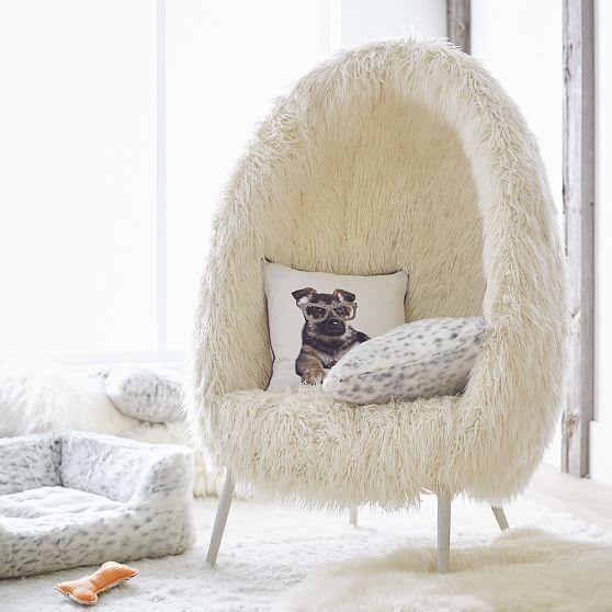 Ivory Furlicious Faux Fur Cave Chair Cave Chair Chairs Loft Cool Chairs